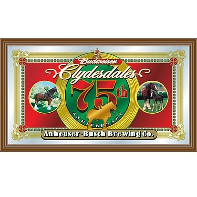 Trademark Global® 15 x 26 Black Wood Framed Mirror, Budweiser® Clydesdales 75th Anniversary