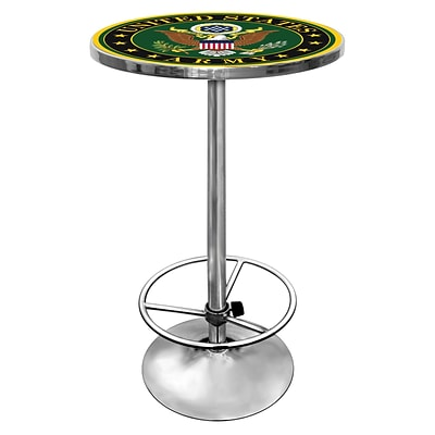 Trademark Global® 27.37 Solid Wood/Chrome Pub Table, Green, U.S Army Symbol