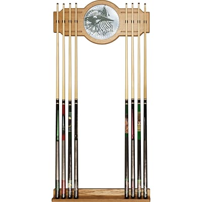 Trademark Global® Wood and Glass Billiard Cue Rack With Mirror, U.S. Army This Well Defend