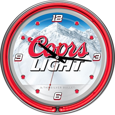 Trademark Global® Chrome Analog Neon Wall Clock, Coors Light White