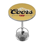 Trademark Global® 28 Solid Wood/Chrome Pub Table, Black, Coors Banquet