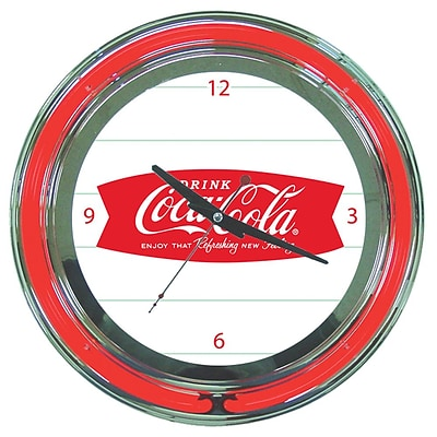 Trademark Global® Chrome Double Ring Analog Neon Wall Clock, Coca-Cola® Refreshing Feeling