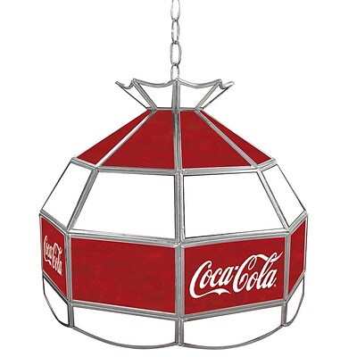 Trademark Global® 16 Stained Glass Vintage Tiffany Lamp, Red/White, Coca Cola® Vintage