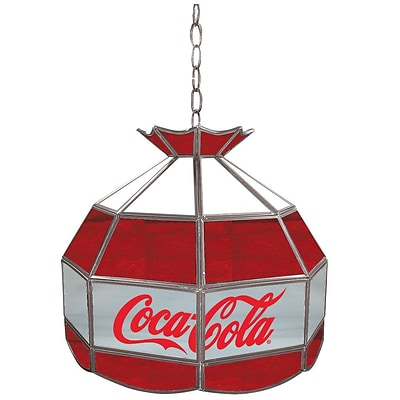 Trademark Global® 16 Stained Glass Vintage Tiffany Lamp, Red/White/Gray, Coca Cola® Vintage