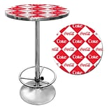Trademark Global® 28 Solid Wood/Chrome Pub Table, Red, Coca Cola® Checker