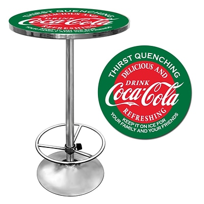 Trademark Global® 28 Solid Wood/Chrome Pub Table, Red, Coca Cola® Red/Green