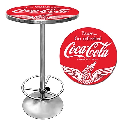 Trademark Global® 28 Solid Wood/Chrome Pub Table, Red, Coca Cola® Wings