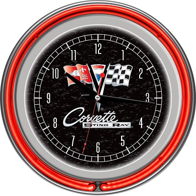 Trademark Global® Chrome Double Ring Analog Neon Wall Clock, Corvette C2, Black