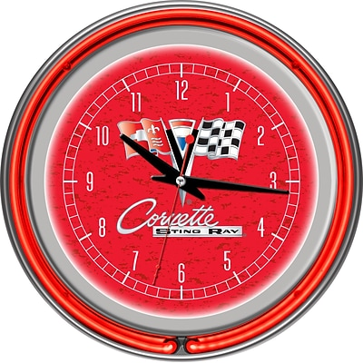 Trademark Global® Chrome Double Ring Analog Neon Wall Clock, Corvette C2, Red