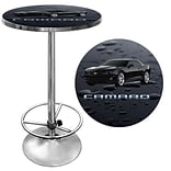 Trademark Global® 28 Solid Wood/Chrome Pub Table, Black, Chevrolet® Black Camaro