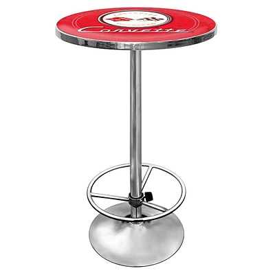 Trademark Global® 28 Solid Wood/Chrome Pub Table, Red, Corvette® C1