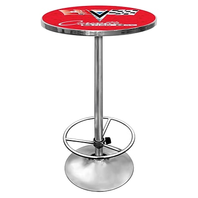 Trademark Global® 27.37 Solid Wood/Chrome Pub Table, Red, Corvette® C2