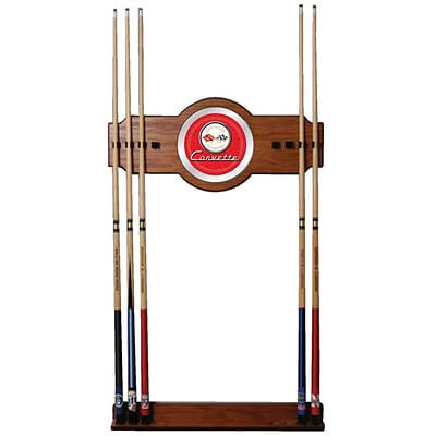 Trademark Global® 2 Piece Wood and Glass Billiard Cue Rack With Mirror, Red, Corvette C1