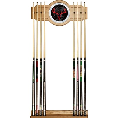 Trademark Global® Wood and Glass Billiard Cue Rack With Mirror, Hunt Skull