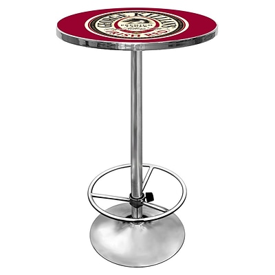 Trademark Global® George Killians® 28 Solid Wood/Chrome Pub Table, Red, George Killians Irish Red