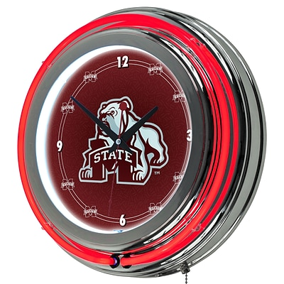 Trademark Global® Chrome Double Ring Analog Neon Wall Clock, NCAA Mississippi State University