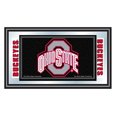 Trademark Global® 15 x 26 Wood Framed Mirror, Black, The Ohio State University Logo and Mascot