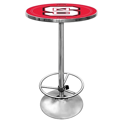 Trademark Global® NCAA® 28 Solid Wood/Chrome Pub Table, Red, North Carolina State