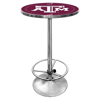 Trademark Global® NCAA® 28 Solid Wood/Chrome Pub Table, Brown, Texas A&M University