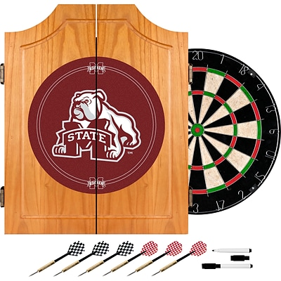 Trademark Global® Solid Pine Dart Cabinet Set, NCAA Mississippi State University