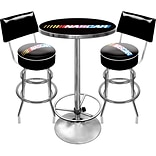 Trademark Global® Ultimate 2 Bar Stools With Back and Table Gameroom Combo, Nascar