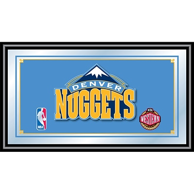 Trademark Global® 15 x 27 Black Wood Framed Mirror, Denver Nuggets NBA