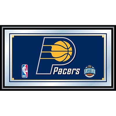 Trademark Global® 15 x 27 Black Wood Framed Mirror, Indiana Pacers NBA
