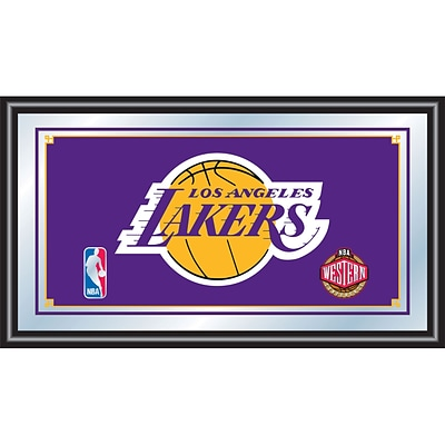 Trademark Global® 15 x 27 Black Wood Framed Mirror, Los Angeles Lakers NBA