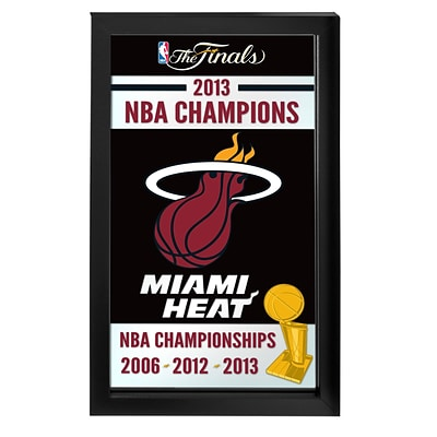 Trademark Global® 15 x 27 Black Wood Framed Mirror, Miami Heat 2013 NBA Champions NBA