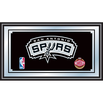 Trademark Global® 15 x 27 Black Wood Framed Mirror, San Antonio Spurs NBA