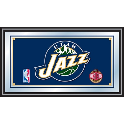 Trademark Global® 15 x 27 Black Wood Framed Mirror, Utah Jazz NBA