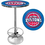 Trademark Global® 27.37 Solid Wood/Chrome Pub Table, Blue, Detroit Pistons NBA