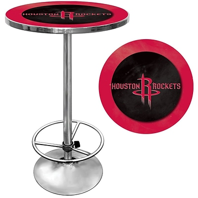 Trademark Global® 27.37 Solid Wood/Chrome Pub Table, Red, Houston Rockets NBA