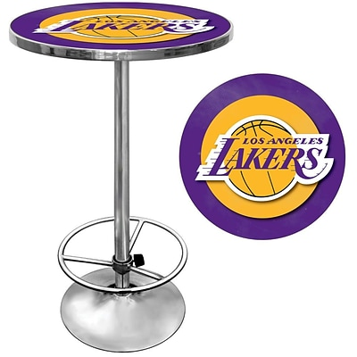 Trademark Global® 27.37 Solid Wood/Chrome Pub Table, Purple, Los Angeles Lakers NBA