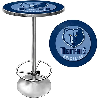 Trademark Global® 27.37 Solid Wood/Chrome Pub Table, Blue, Memphis Grizzlies NBA