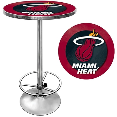 Trademark Global® 27.37 Solid Wood/Chrome Pub Table, Red, Miami Heat NBA