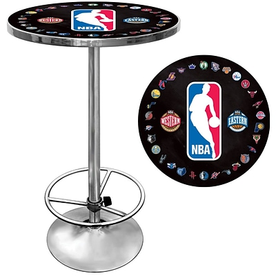 Trademark Global® 27.37 Solid Wood/Chrome Pub Table, Black, Logo With All Teams NBA