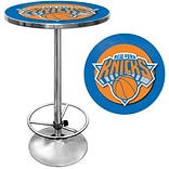 Trademark Global® 27.37 Solid Wood/Chrome Pub Table, Blue, New York Knicks NBA