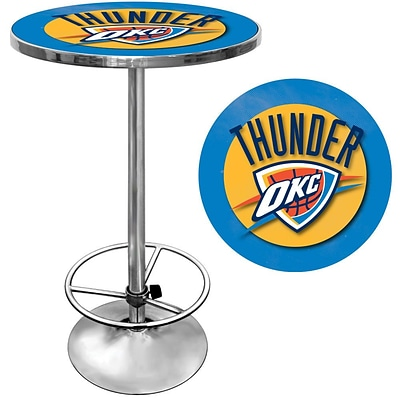 Trademark Global® 27.37 Solid Wood/Chrome Pub Table, Blue, Oklahoma City Thunder NBA