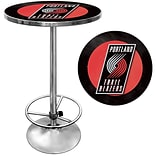 Trademark Global® 27.37 Solid Wood/Chrome Pub Table, Black, Portland Trail Blazers NBA