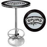 Trademark Global® 27.37 Solid Wood/Chrome Pub Table, Black, San Antonio Spurs NBA