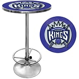 Trademark Global® 27.37 Solid Wood/Chrome Pub Table, Blue, Sacramento Kings NBA