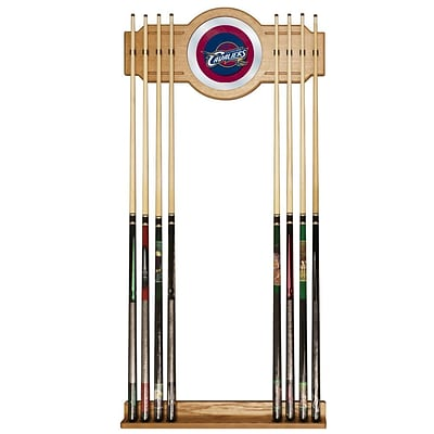 Trademark Global® Wood and Glass Billiard Cue Rack With Mirror, Cleveland Cavaliers NBA