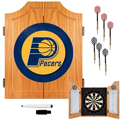Trademark Global® Solid Pine Dart Cabinet Set, Indiana Pacers NBA