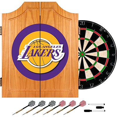 Trademark Global® Solid Pine Dart Cabinet Set, Los Angeles Lakers NBA