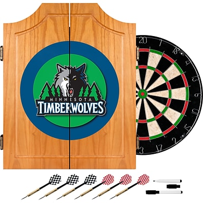 Trademark Global® Solid Pine Dart Cabinet Set, Minnesota Timberwolves NBA