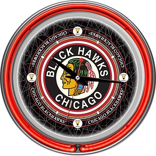 Trademark Global® Chrome Double Ring Analog Neon Wall Clock, NHL Vintage Chicago Blackhawks