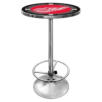 Trademark Global® 27.37 Solid Wood/Chrome Pub Table, Red, NHL® Vintage Detroit Redwings