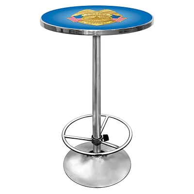 Trademark Global® 27.37 Solid Wood/Chrome Pub Table, Blue, Police Officer
