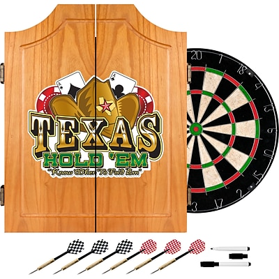 Trademark Global® Solid Pine Dart Cabinet Set, Texas Holdem